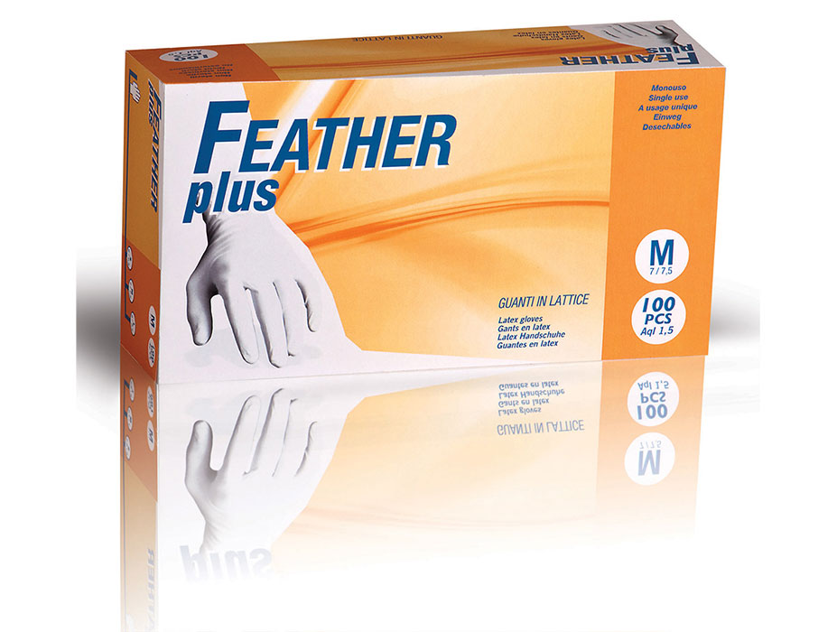 Powdered Latex Gloves Feather Plus