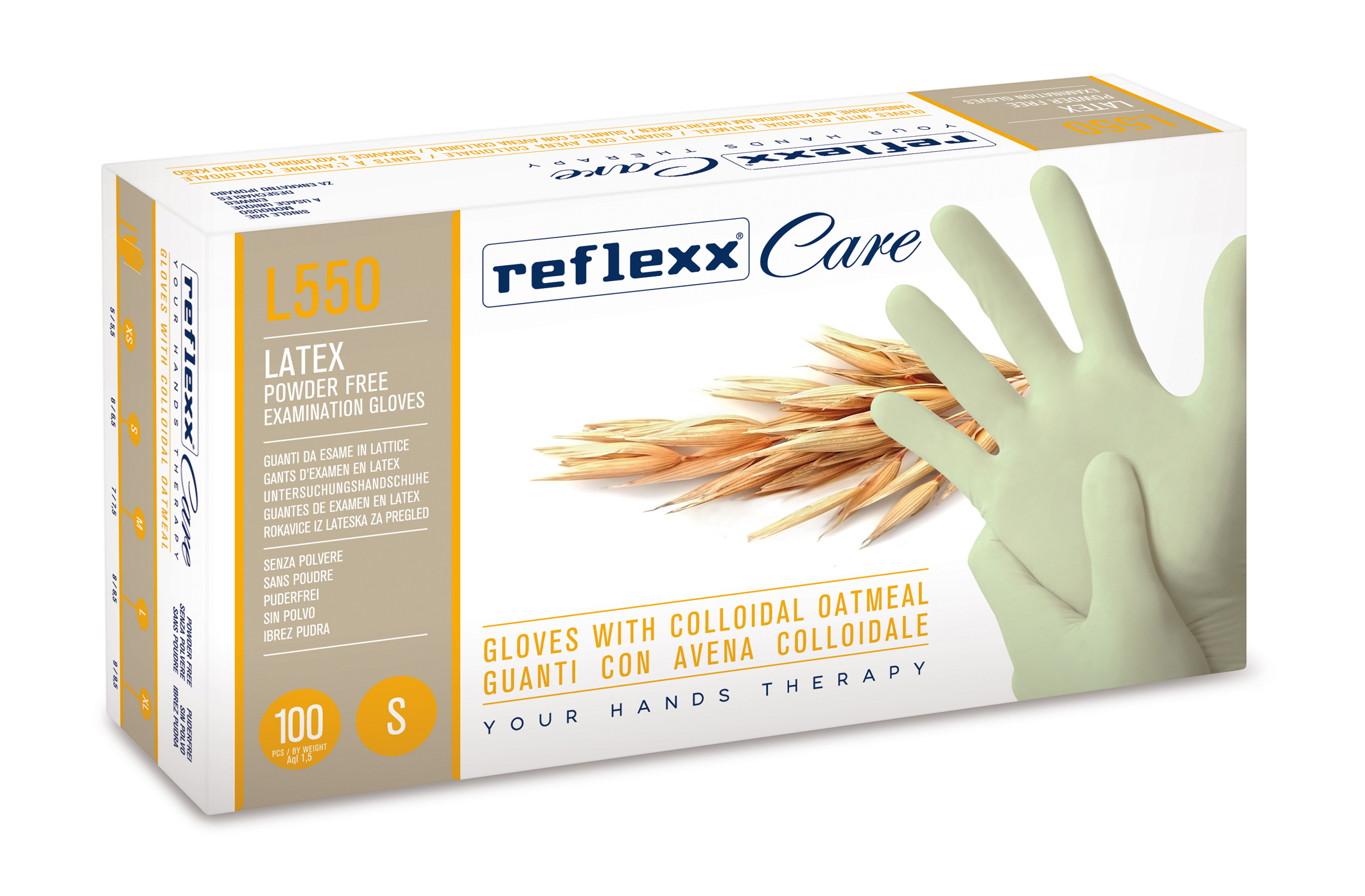 Latex gloves with oatmeal powder